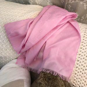 Auth. Gucci NWT Baby Pink Wool & Silk XL Scarf